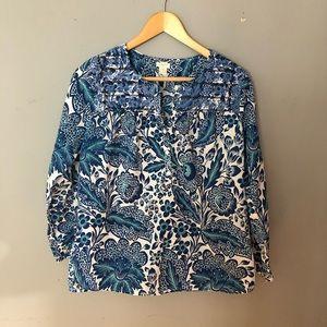 J. Crew flowy blue flower shirt size xs